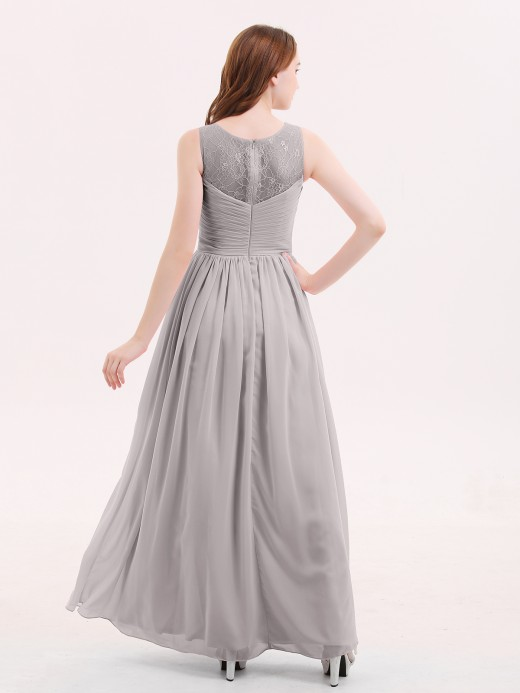Babaroni Honey Chiffon Long Dresses with Illusion NECK