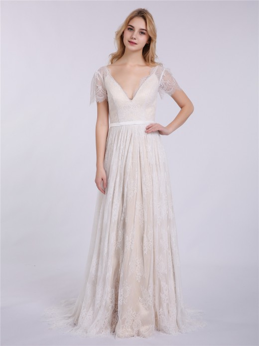 Babaroni Hulda V neck Cap Sleeves Lace Wedding Dresses