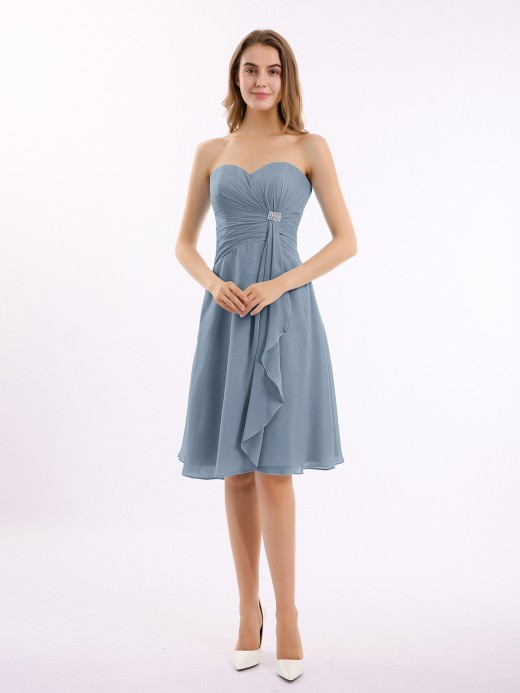 Babaroni Indie Short Chiffon Dress with Sweetheart Neck Shining Decor