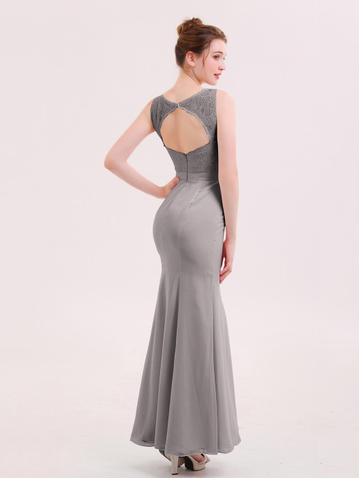 Babaroni Ingrid Mermaid Illusion Neck Long Gowns with Bow