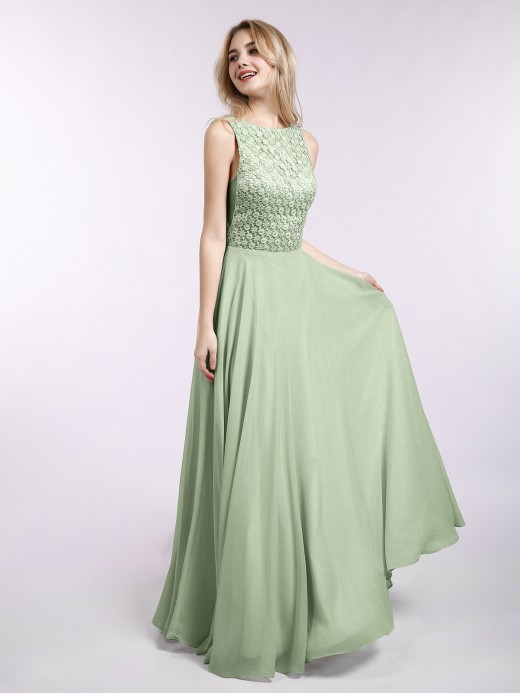 Babaroni Iris Lace And Chiffon Long Formal Dresses