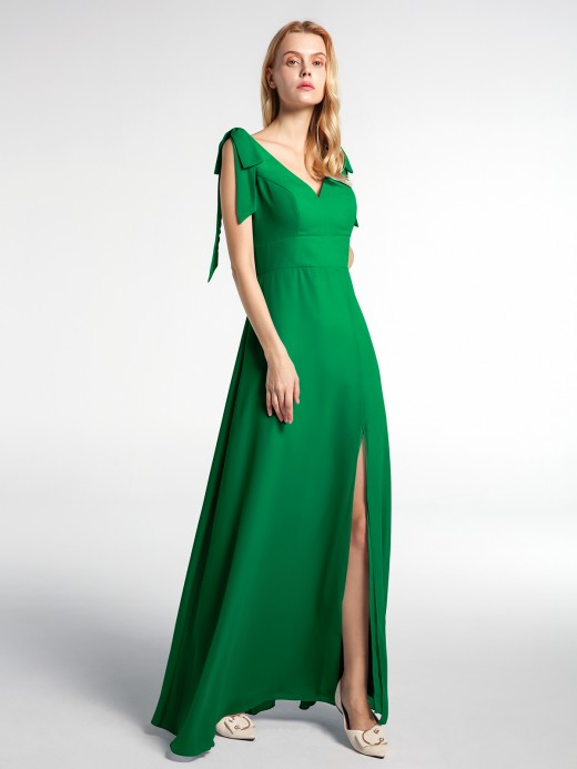 Babaroni Irma Bowed Flat Strap Dress Maxi with Front Slit