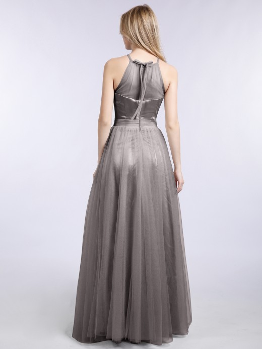 Babaroni Ishtar Long Tulle Dresses with Illusion Neckline