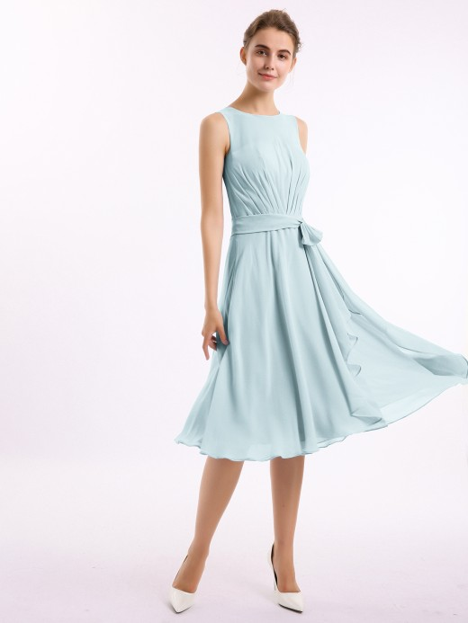 Babaroni Isobel Knee-length Chiffon Dress with Scoop Neck and Sash Bow