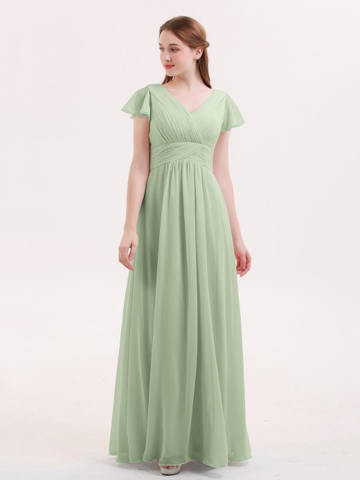 Babaroni Jacqueline V-Neck Chiffon Dresses with Cap Sleeves