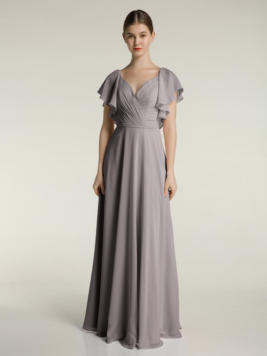 Babaroni Jamie V Neckline Dress with Flutter Sleeves