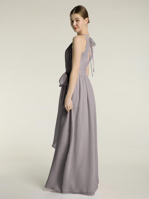Babaroni Jane Halter Chiffon Dress with Bow Sash