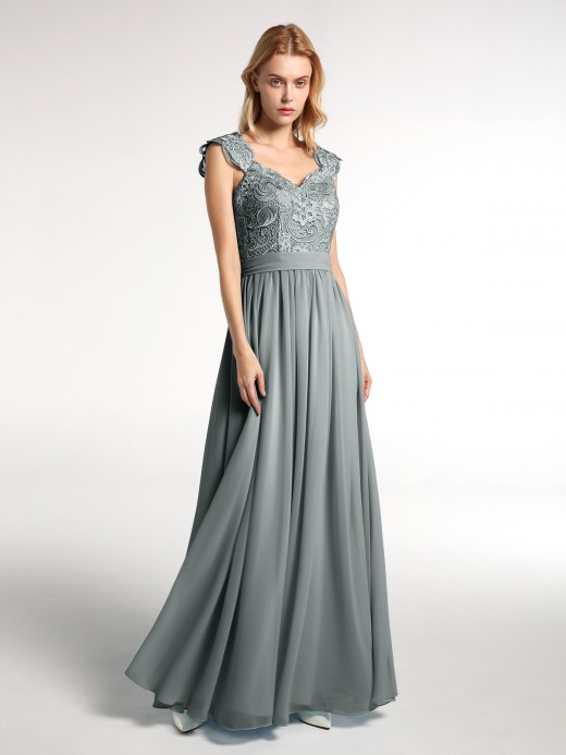 Babaroni Jennifer Lace Bodice Chiffon Skirt Long Dresses