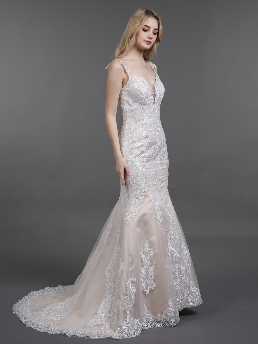 Babaroni Jill Vintage Lace Wedding Dresses with Sweep Train