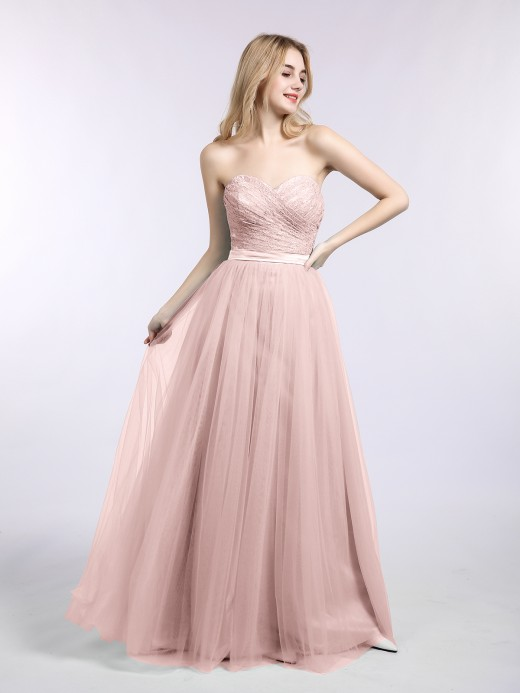 Babaroni Joan Lace and Tulle Long Strapless Dresses