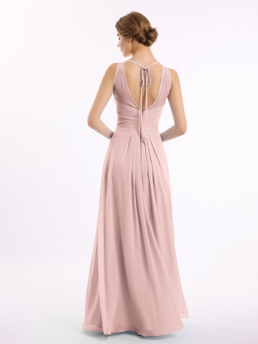 Jocelyn Full Length Chiffon Gowns with Illusion Neck UK14