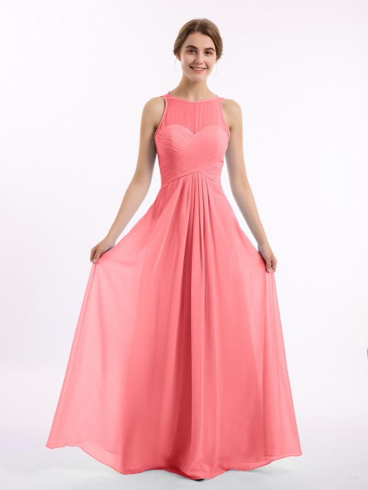 Babaroni Jocelyn Full Length Chiffon Gowns with Illusion Neck