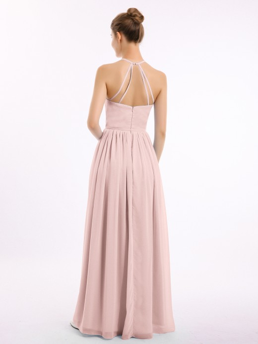 Babaroni Jodie Long Chiffon Simple Dress with Halter Neck