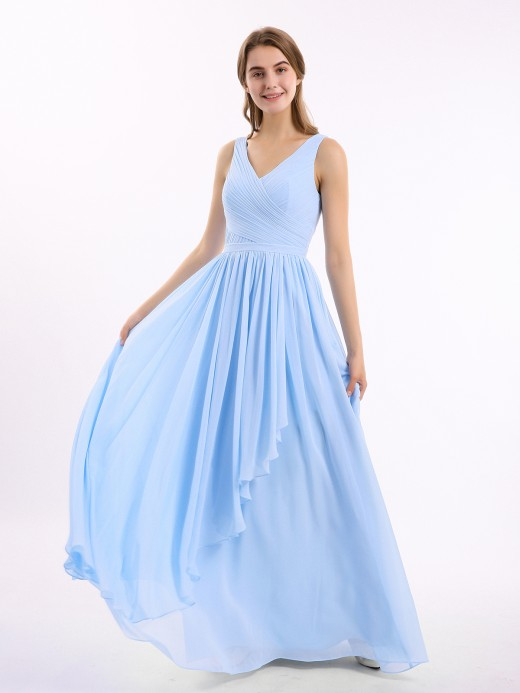 Babaroni Josephine CASCADE SKIRT Long Chiffon Gowns with V Neck