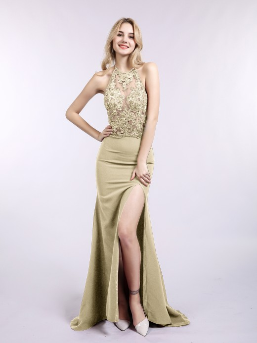Babaroni Joyce See Through Jersey Sexy Dresses with Slit