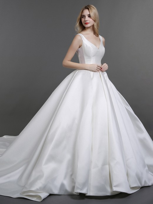 Babaroni Judith Ball Gown Simple Satin Wedding Dresses