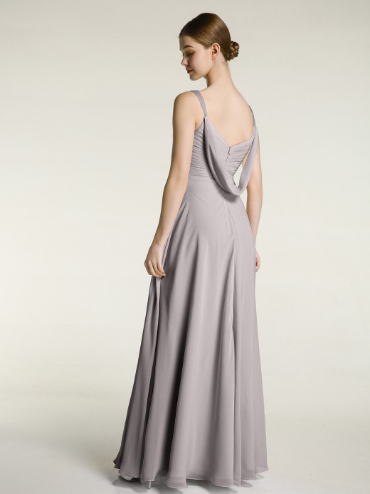 Babaroni Judy Beaded Strap Chiffon Bridesmaid Dress with V-neck