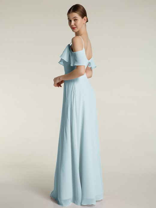 Babaroni Julia V-neck Chiffon Bridesmaid Dress with Ruffles