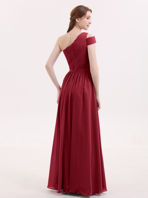Babaroni Juliet One shoulder Long Chiffon Bridesmaid Gowns