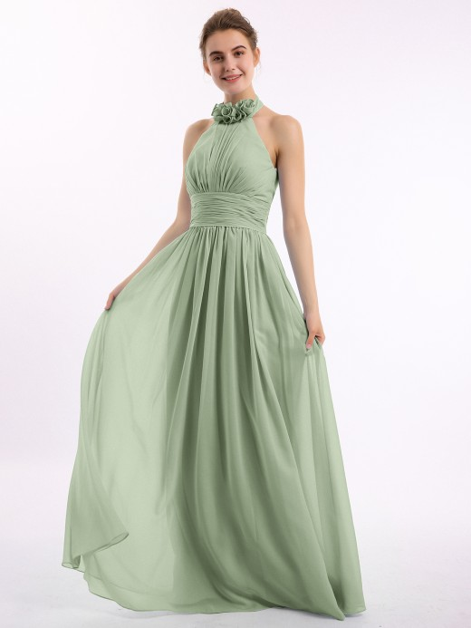 Kaia Long Halter Chiffon Gown with 3D Floral Neck UK8