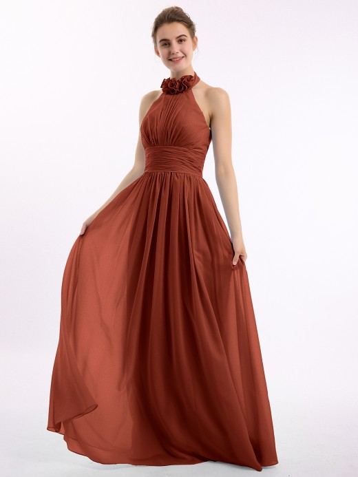 Babaroni Kaia Long Halter Chiffon Gown with 3D Floral Neck