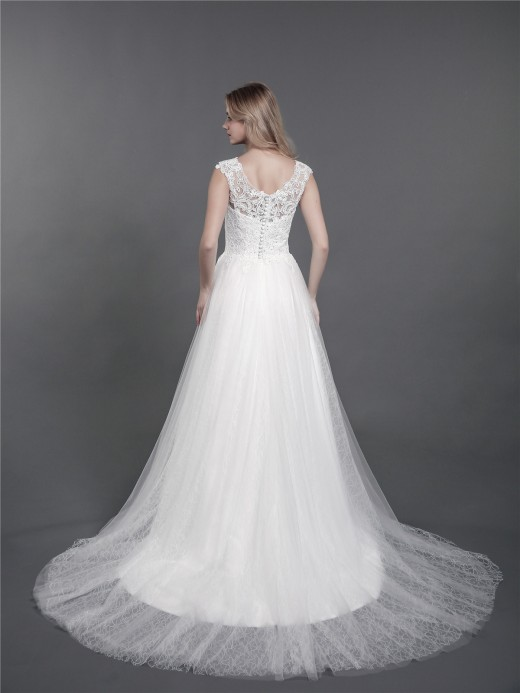 Babaroni Kalila Lace and Tulle Chapel Train Bridal Gowns
