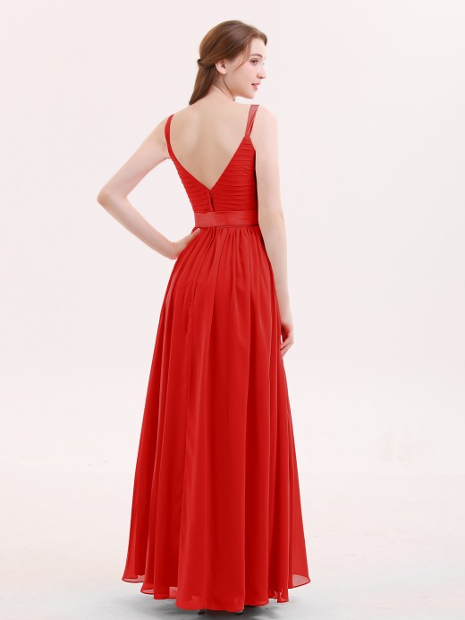 Babaroni Kama V-neck Chiffon Dresses with Satin Sash Bow