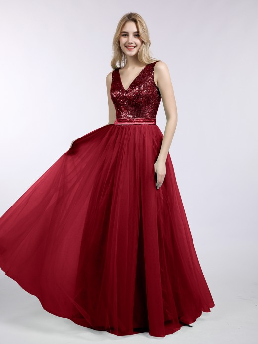 Babaroni Kelly V-neck Sequins Top Tulle Skirt Long Dresses