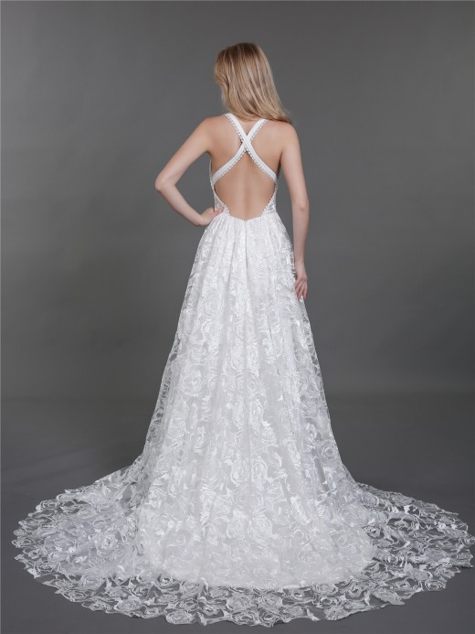Babaroni Kira Open Back Lace Wedding Dresses with Slit