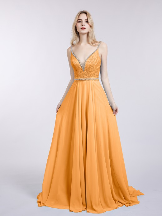 Babaroni Lena Lace and Chiffon Dresses with Spaghetti Straps