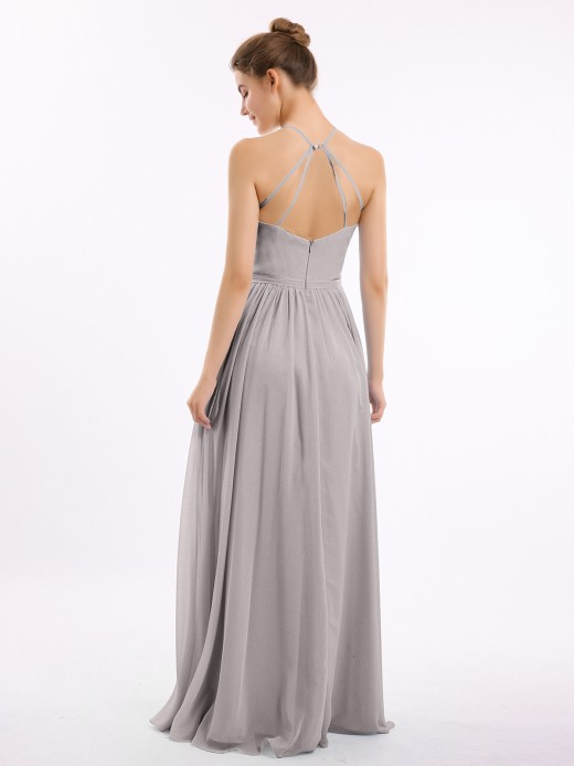 Babaroni Lesley Long Halter Chiffon Dress with Back Double Straps