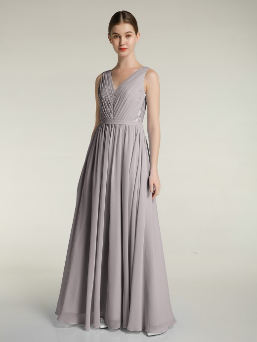 Babaroni Liliana Lace and Chiffon Full Length Dress with V-neck