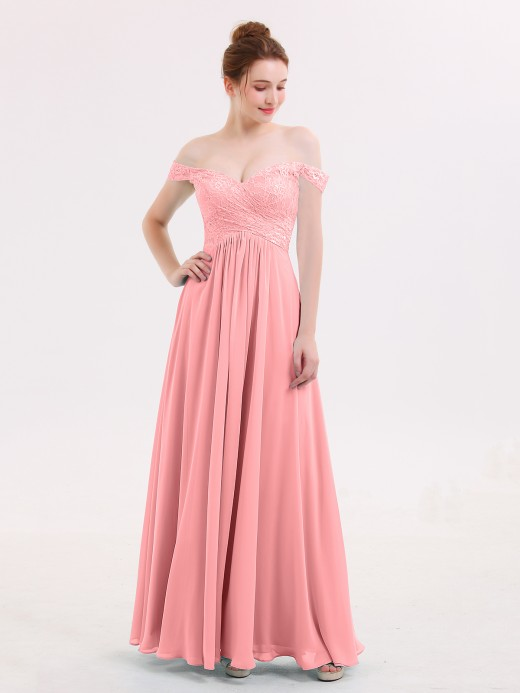 Babaroni Lillian Lace Top Chiffon BUTTON Long Dresses