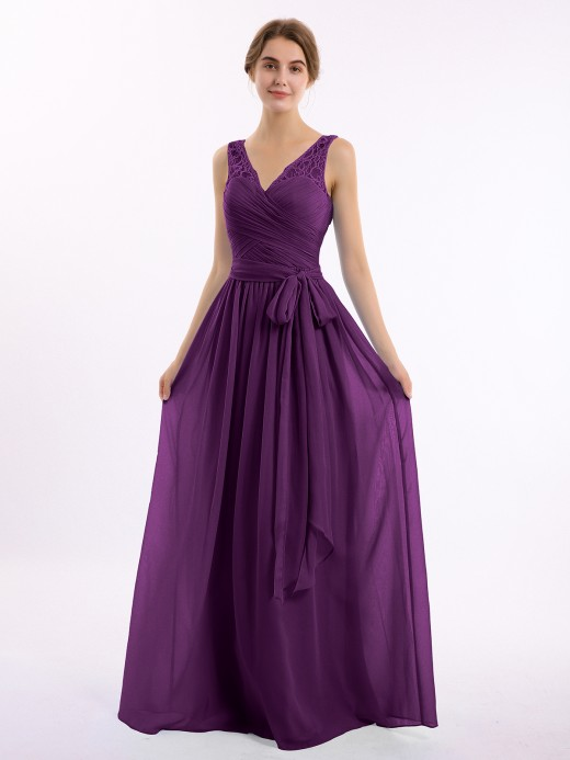 Babaroni Linda Chiffon Dress with Lace Straps Decor with Sash Bow