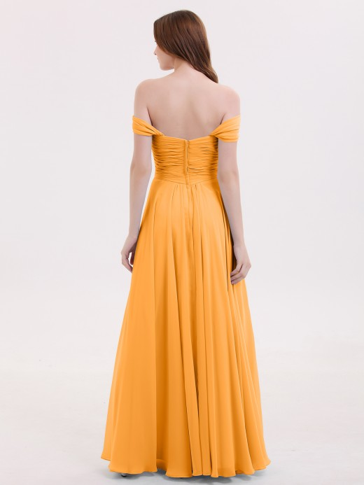 Babaroni Lindsay Empire Chiffon Off the shoulder Long Dresses