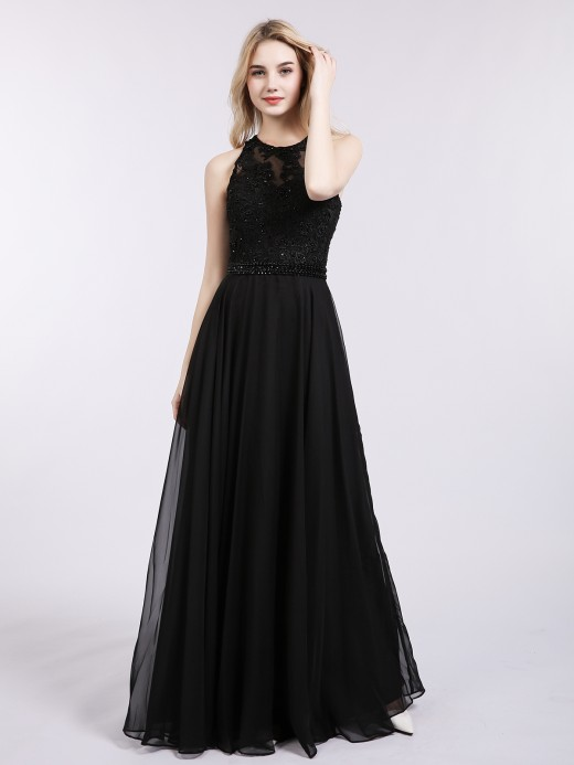 Babaroni Liz Chiffon and Lace Appliqued Long Dresses
