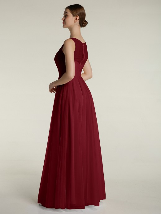 Babaroni Lorelei V-neck Tulle Floor Length Bridesmaid Dress