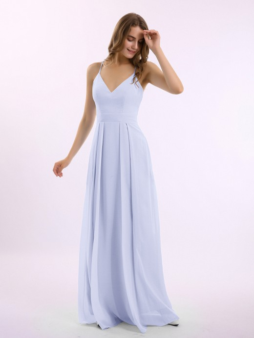 Babaroni Louise Spaghetti Strap Chiffon Gowns with Pockets and V Neck