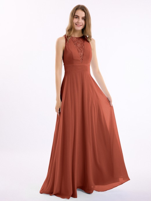 Babaroni Lucille Long Chiffon Dress with Deep V Neck Decor with Lace