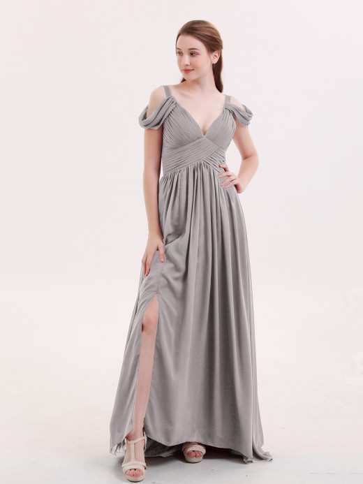 Babaroni Lucy Sweep Train Chiffon Sexy Dress with Slit