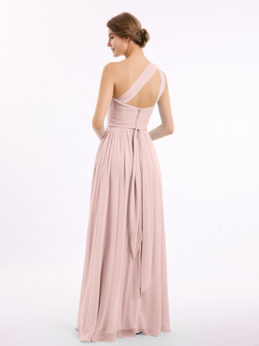 Lynn One Shoulder Flower Attached Chiffon Gown with Pockets UK12