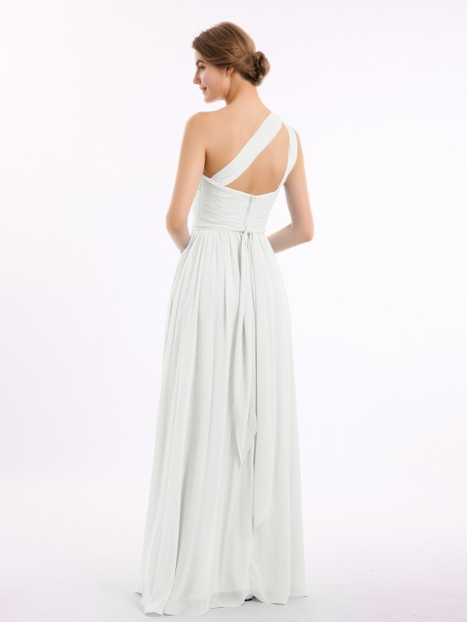 Babaroni Lynn One Shoulder Flower Attached Chiffon Gown with Pockets