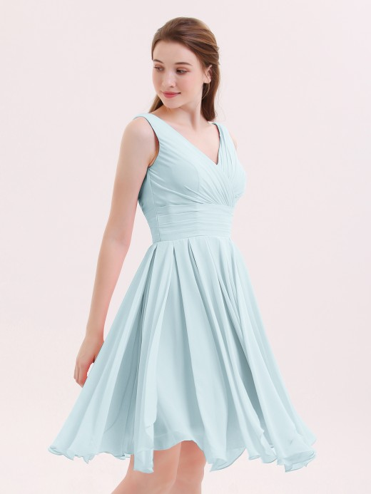 Babaroni Mabel V-neck Short Chiffon Bridesmaid Gowns
