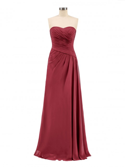 Babaroni Madeline Long Chiffon Strapless Gowns with Sweethart