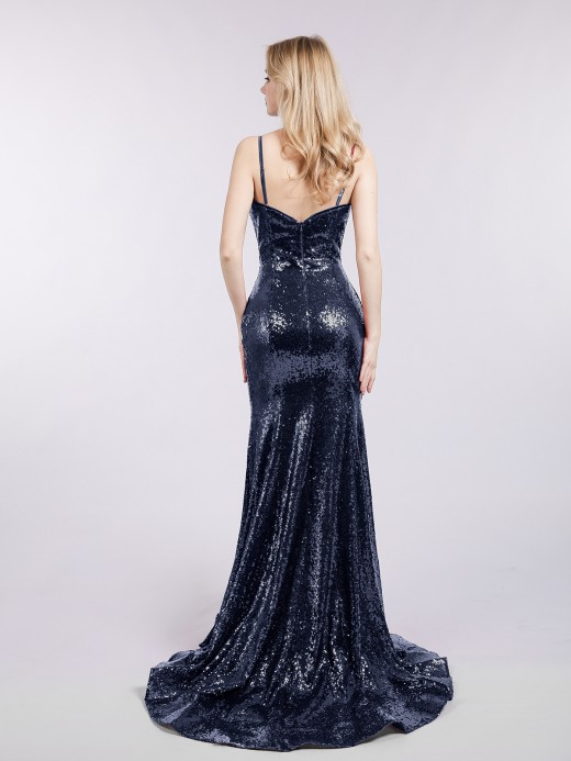 Babaroni Madge Sequins Lace Dresses with Train