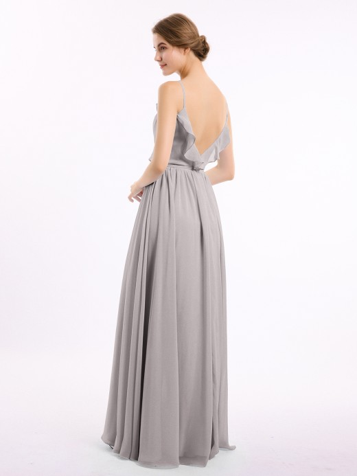 Babaroni Mamie V-neck Chiffon Bridesmaid Gowns with Spaghetti Straps
