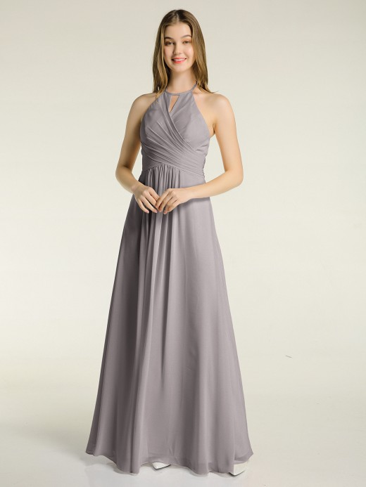 Babaroni Mandy Long Chiffon Dress for Bridesmaid with Bow