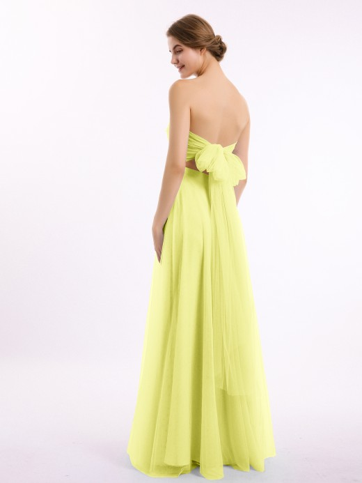 Babaroni Marcia Long Strapless Tulle Gown with Sweetheart  Neck