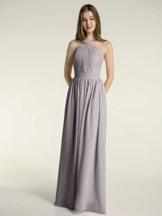Babaroni Maria Full Skit Chiffon Bridesmaid Dress with Y Neck
