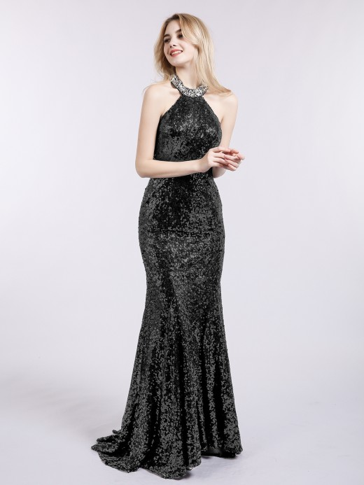 Babaroni Marina Sweep Train Mermaid Sequins Dresses